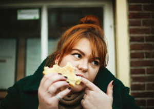 Woman eating normally